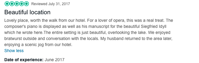 Text of review for Richard Wagner Museum Lake Luzern best location for a wedding in Luzern Switzerland