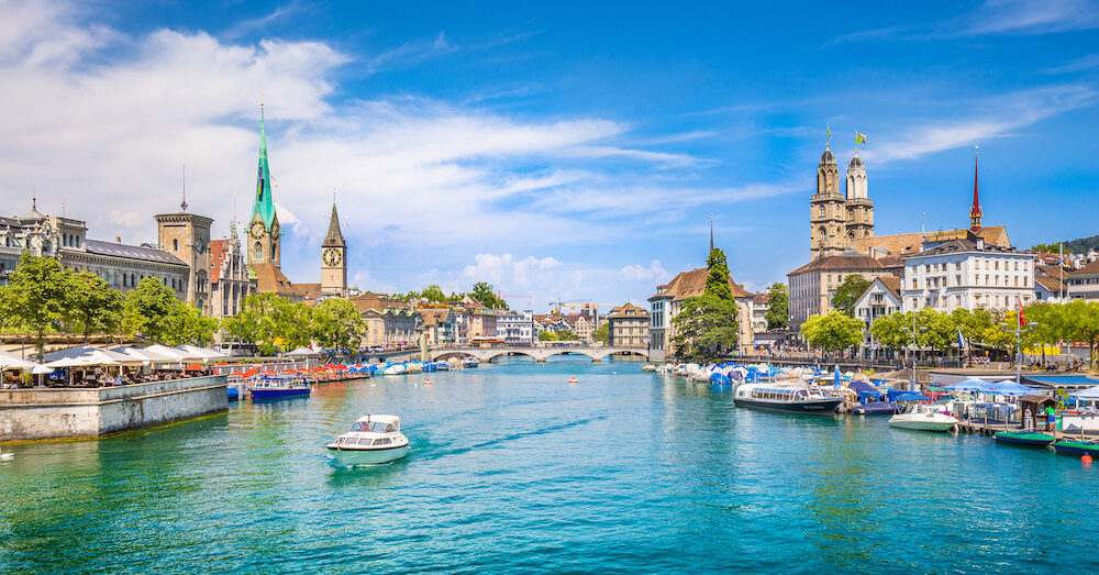 Panoramic view of historic Zurich city center